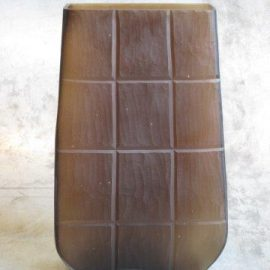 glass vase carved rectangular brown