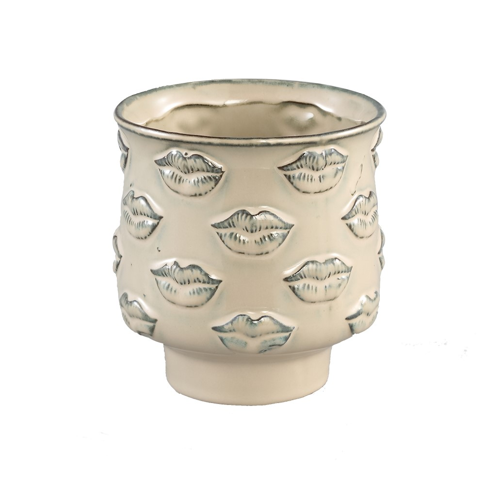 stevi white glazed ceramic pot lips motif round medium £30